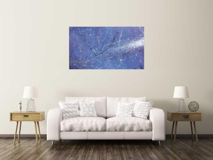 #511 Modernes Acrylbild abstrakt lila blau weiß 80x140cm von Alex Zerr