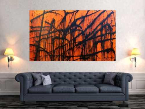 Modernes abstraktes Acrylbild in orange und schwarz