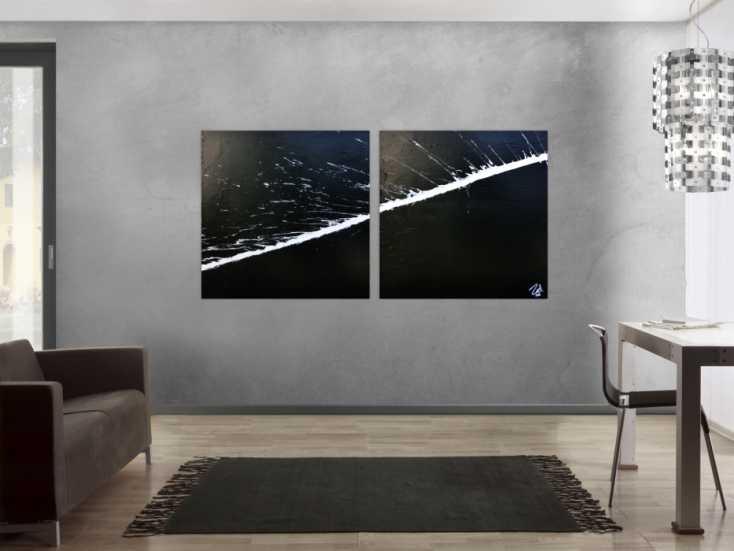 #514 Minimalistisches abstraktes Acrylbild schwarz weiß zwei Teile 100x200cm von Alex Zerr