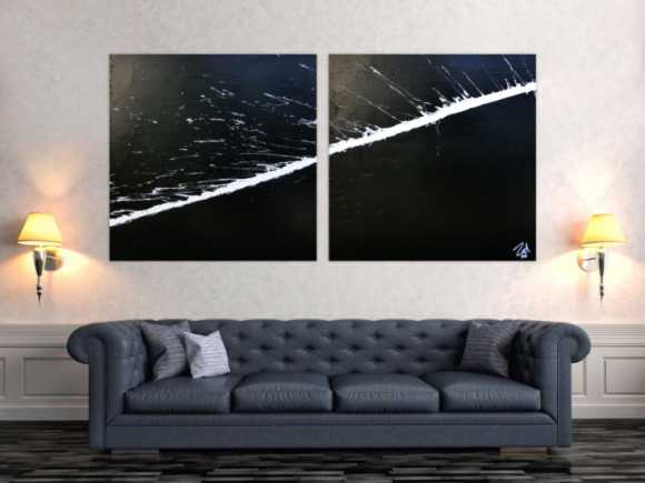 Minimalistisches abstraktes Acrylbild schwarz weiß zwei Teile