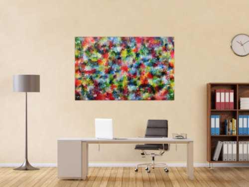 Sehr buntes abstraktes Acrylbild modern mit vielen Farben