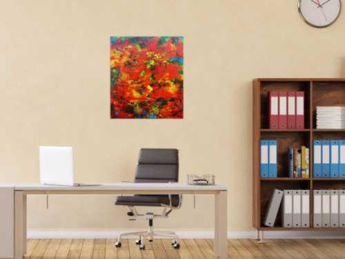 Modernes abstraktes Acrylbild mit viel rot