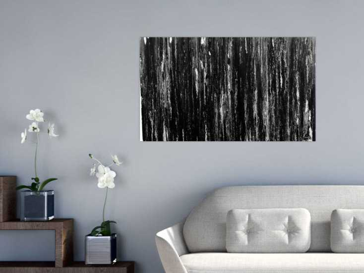 modernes acryl gem lde in schwarz wei abstrakt und schlicht auf leinwand 60x100cm. Black Bedroom Furniture Sets. Home Design Ideas