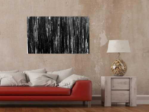 Modernes Acryl Gemälde in schwarz weiß abstrakt und schlicht