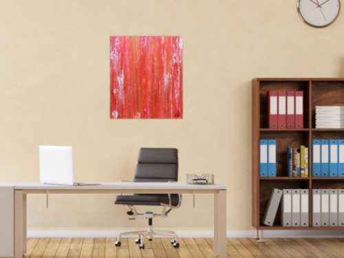 Abstraktes Acrylbild in rot modern und schlicht