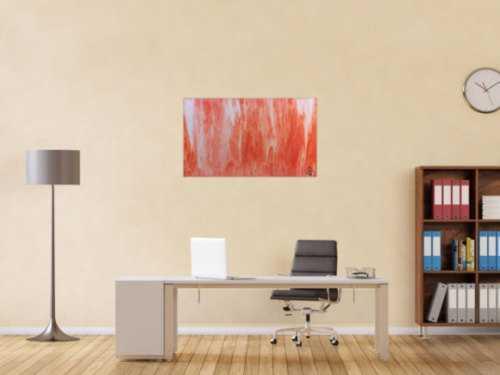Modernes Acrylbild abstrakt in peach und Lachsfarben