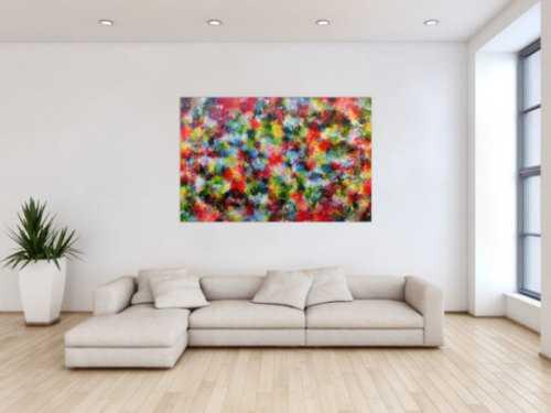 Sehr buntes abstraktes Acrylgemlde modern mit sehr vielen Farben