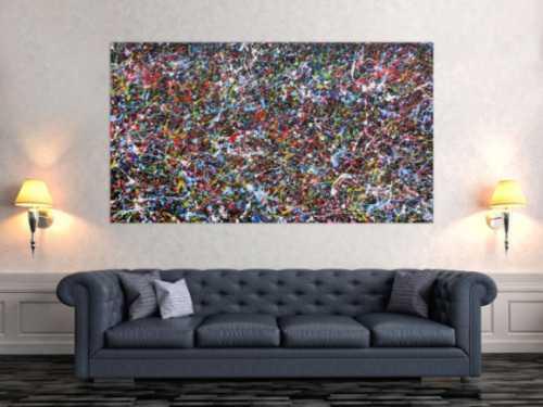 Abstraktes Acrylgemälde mit vielen Farben sehr bunt Splashstyle
