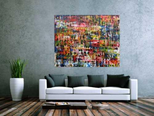 Sehr Buntes abstraktes Acryl Gemälde modern und mit vielen Farben