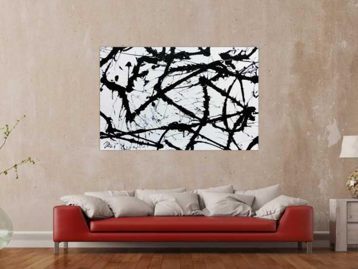 minimalistisches acrylgem lde in schwarz wei modern und abstrakt auf leinwand 100x150cm. Black Bedroom Furniture Sets. Home Design Ideas