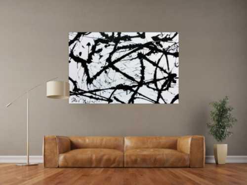 Minimalistisches Acrylgemälde in schwarz weiß modern und abstrakt