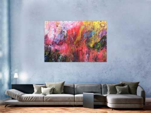 Buntes abstraktes Acrylgemälde modern und mit vielen Farben