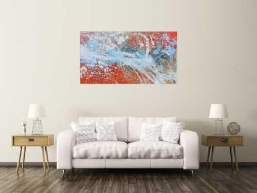 Abstraktes Acrylgemälde in orange und weiß sehr modern