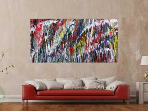 Buntes Gemälde aus Acryl modern abstrakt mit vielen Farben