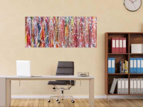 Buntes Acrylgemälde abstrakt mit vielen Farben sehr modern
