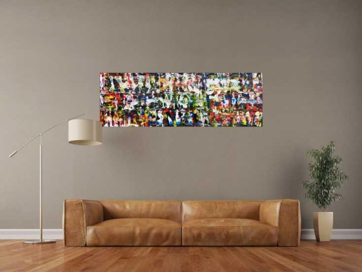 #541 Abstraktes Acrylgemälde modern und sehr bunt 50x150cm von Alex Zerr