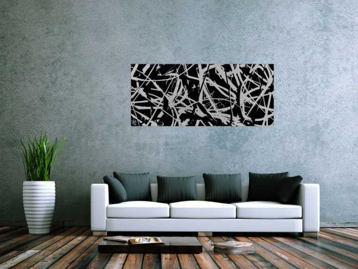 minimalistisches gem lde aus acryl abstrakt in schwarz wei modern auf leinwand 60x140cm. Black Bedroom Furniture Sets. Home Design Ideas