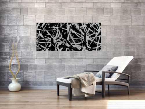 Minimalistisches Gemälde aus Acryl abstrakt in schwarz weiß modern