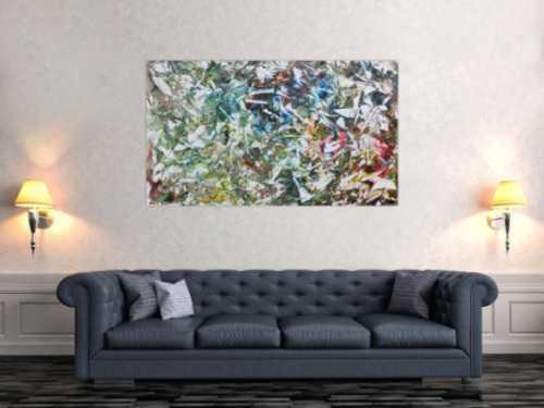Abstraktes Gemälde mit vielen hellen Farben bunt und modern