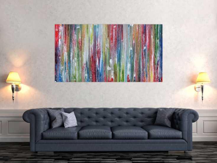 #545 Sehr buntes Acrylgemälde abstrakt modern mit vielen Farben 80x150cm von Alex Zerr