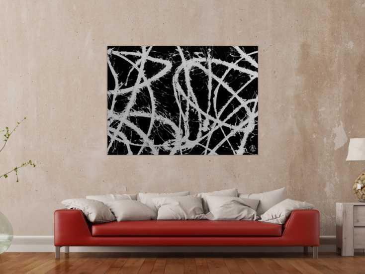 abstraktes acrylgem lde in schwarz wei sehr modern und schlicht auf leinwand 100x140cm. Black Bedroom Furniture Sets. Home Design Ideas