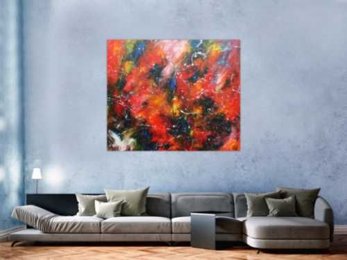 Modernes Acrylgemälde abstrakt bunt mit viel rot und blau