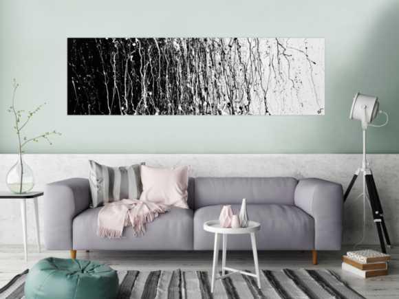 Abstraktes Actrylbild schwarz/weiß