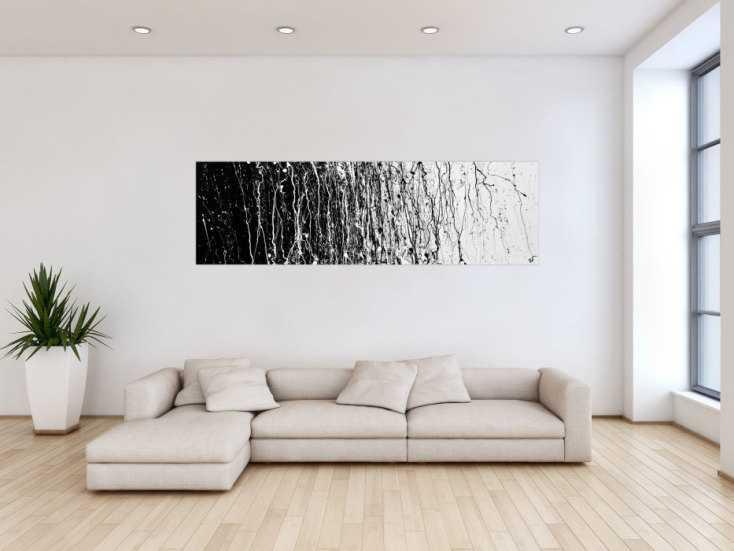#55 Abstraktes Actrylbild schwarz/weiß 60x200cm von Alex Zerr