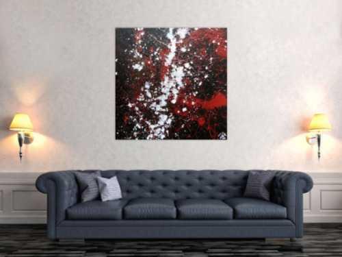 Schlichtes abstraktes Acrylgemälde in schwarz rot und weiß