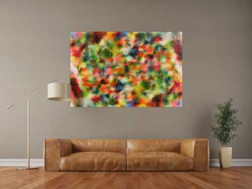 Abstraktes Acrylgemälde modern sehr bunt und viele Farben