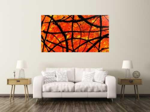 Modernes abstraktes Acryl Gemälde in orange und schwarz