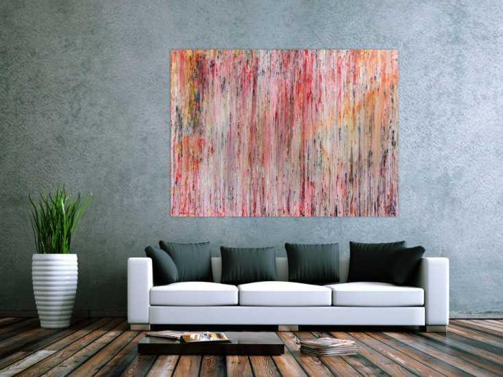 abstraktes gem lde aus acryl mit hellen farben bunt schlicht modern auf leinwand 120x160cm. Black Bedroom Furniture Sets. Home Design Ideas