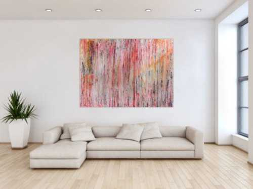 Abstraktes Gemälde aus Acryl mit hellen Farben bunt schlicht modern