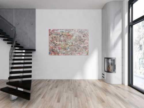 Helles abstraktes Acrylgemälde mit viel weiß und pastel schlicht und modern