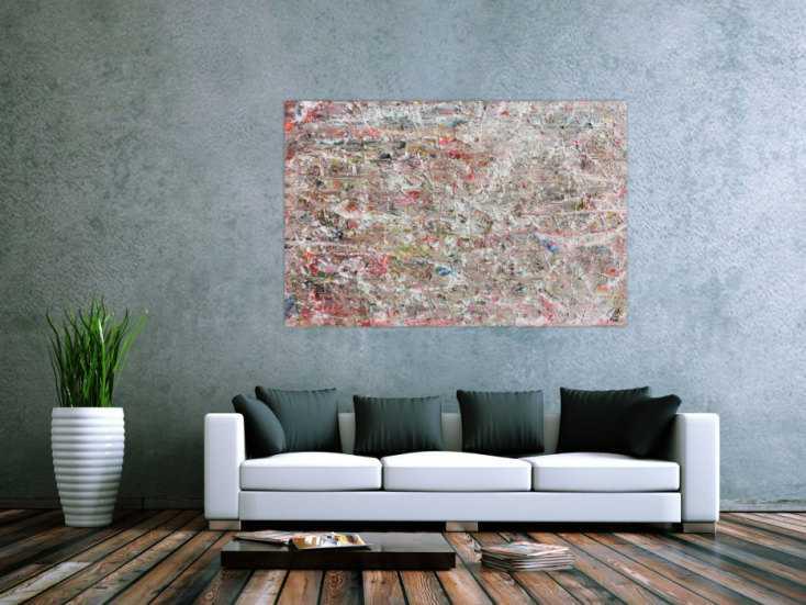 Helles abstraktes acrylgemälde mit viel weiß und pastel schlicht und
