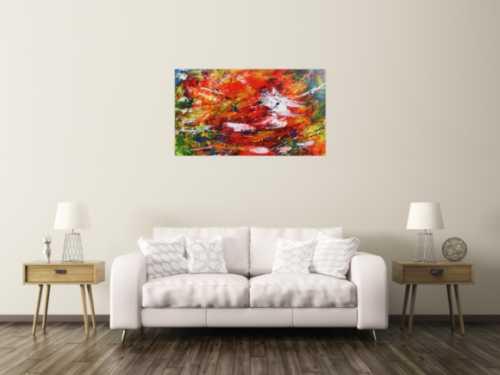 Modernes Acrylgemälde abstrakt mit viel rot
