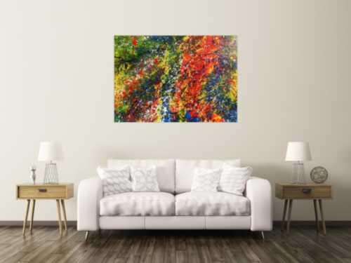 Sehr buntes Acrylgemälde modern abstrakt mit vielen Farben
