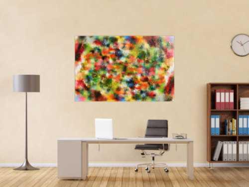 Modernes Acrylgemälde abstrakt sehr bunt viele Farben