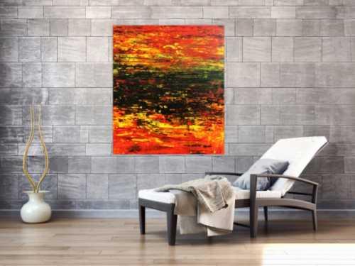 Abstraktes Acrylgemälde sehr modern in rot schwarz und gelb
