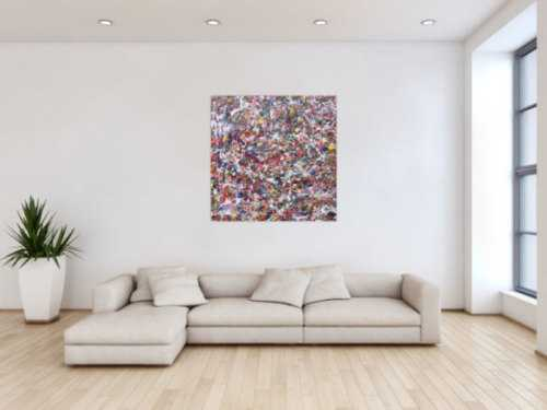 Modernes Acrylgemälde abstrakt bunt viele Farben quadratisch