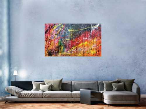 Modernes Acrylgemälde abstrakt bunt viele Farben