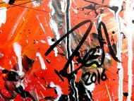 Detailaufnahme Abstraktes modernes Gemälde acryl sehr bunt und viele Farben