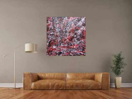 Abstraktes Acrylgemälde modern schwarz rot weiß