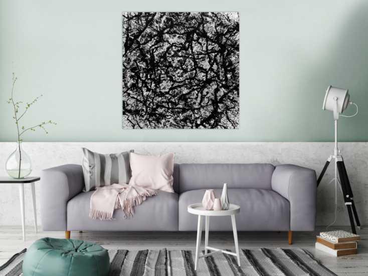 abstraktes acryl gem lde quadratisch schwarz wei modern auf leinwand 100x100cm. Black Bedroom Furniture Sets. Home Design Ideas