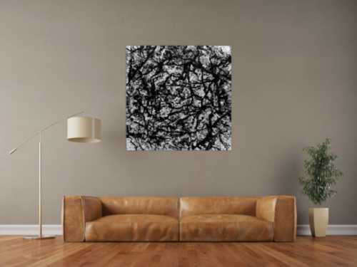 Abstraktes Acryl Gemälde quadratisch schwarz weiß modern