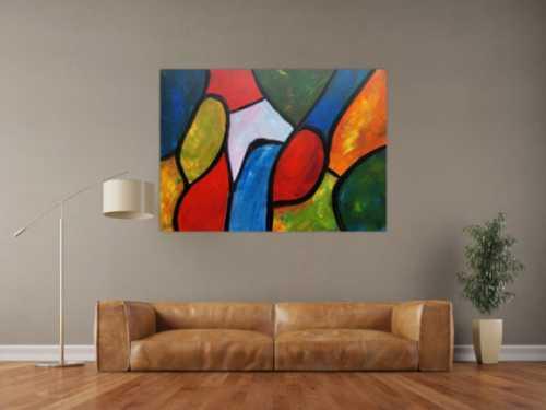 Buntes Gemälde mit vielen  farbigen Flächen modern abstrakt