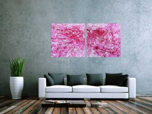 Abstraktes Acryl Gemälde pink und weiß sehr modern