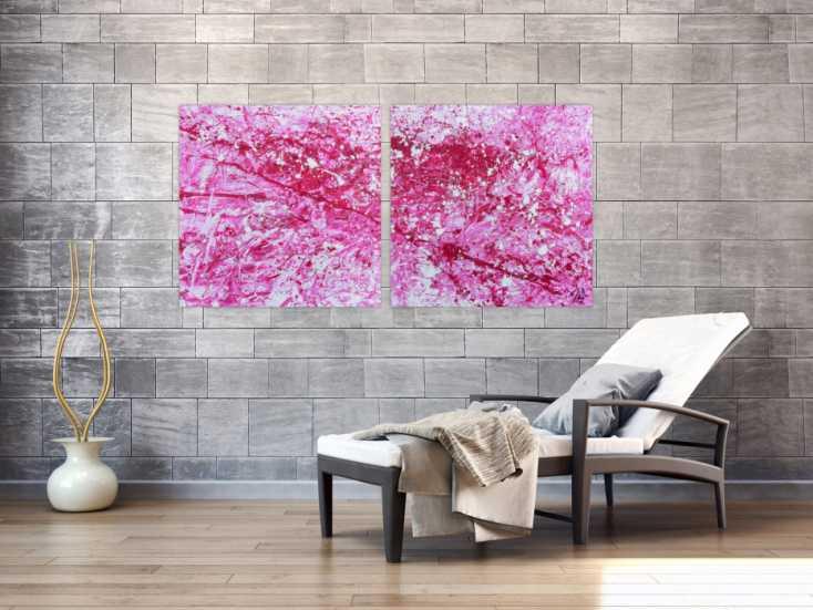 #567 Abstraktes Acryl Gemälde pink und weiß sehr modern 80x160cm von Alex Zerr