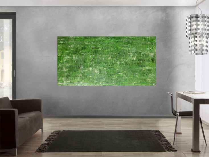 #57 Abstraktes Acrylbild grünes Muster 100x200cm von Alex Zerr