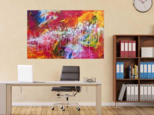 Sehr buntes abstraktes Gemälde viele helle und leuchtende Farben